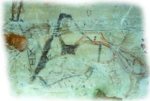 Prehistoric drawings on the cave walls